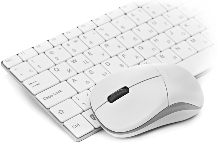 mouse and keyboard in white